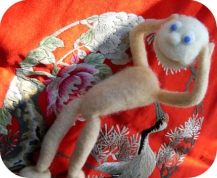 needle felting class - wool monsters