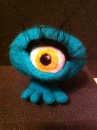 needle felting class - wool monsters