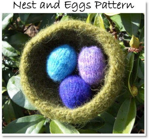 Free Felted Knit Pattern For A Nest And Eggs Felting