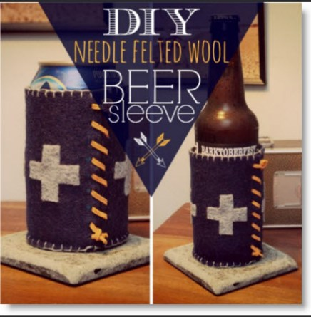 DIY Needle Felted Wool Beer Sleeve