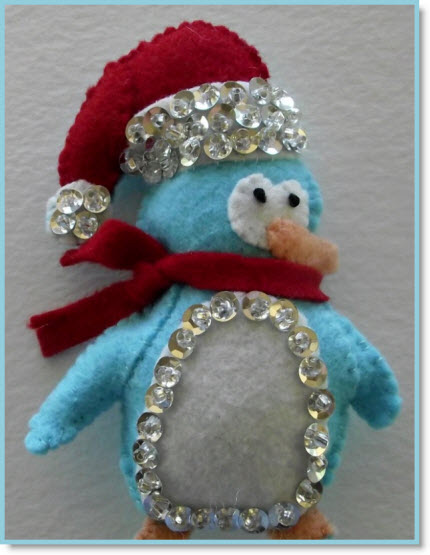 Free Patterns For A Felt And Sequin Rudolph And Penguin