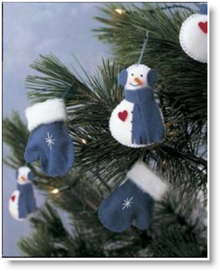 Mitten & Snowmen Felt Tree Ornaments