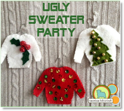 Ugly Sweater Felt Christmas Ornaments