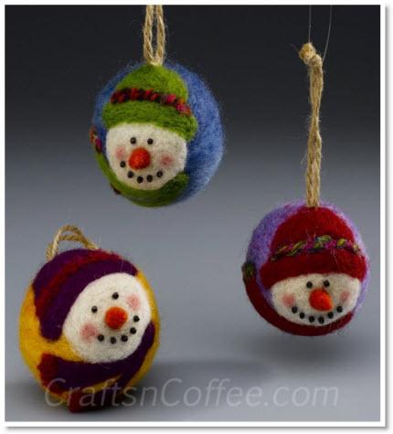 needle-felted snowman ornaments