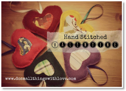 hand stitched hearts