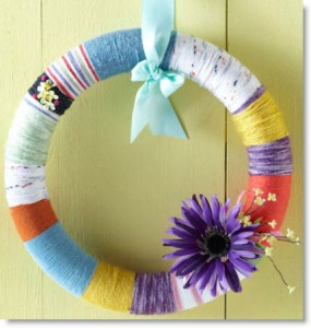Easy Yarn-Wrapped Easter Wreath
