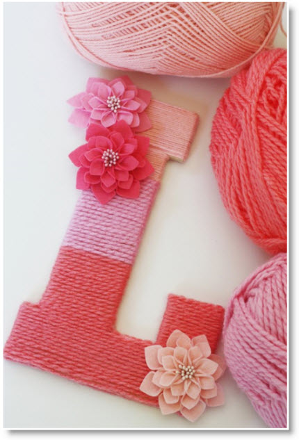 Yarn Wrapped Ombre Monogrammed Letter