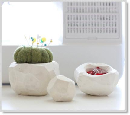 pincushion and vase