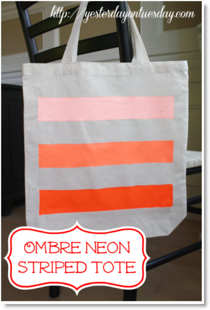 Ombre Neon Striped Tote