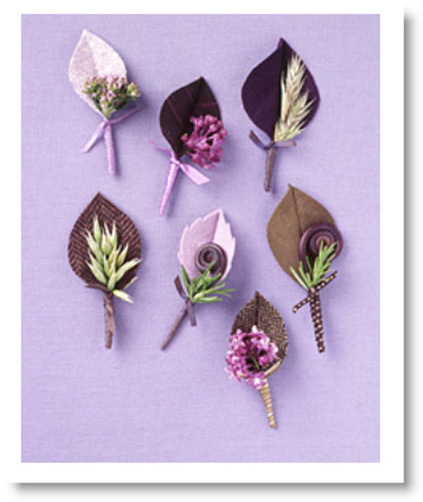 Fabric Leaf Boutonniere