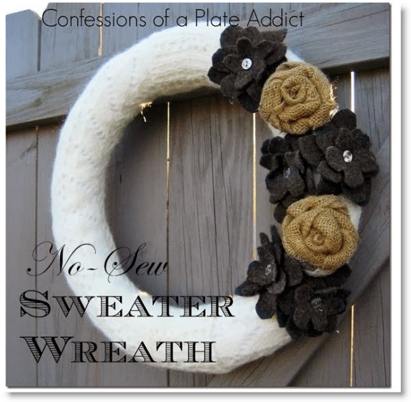Easy No-Sew Sweater Wreath