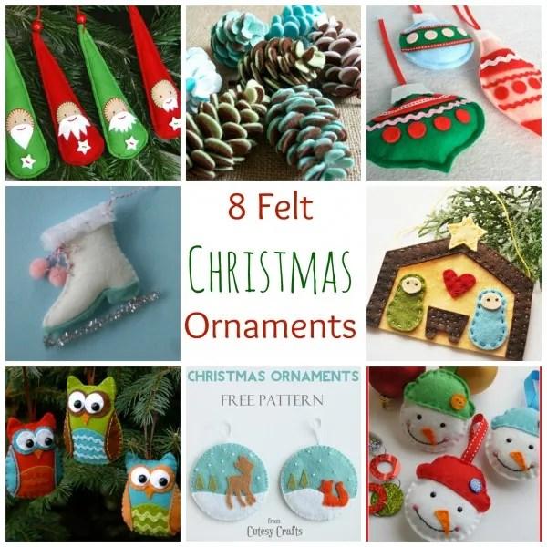 8 Felt Christmas Ornaments