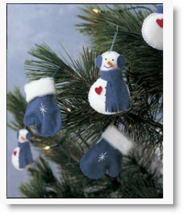 DIY: Make Mitten & Snowmen Felt Tree Ornaments