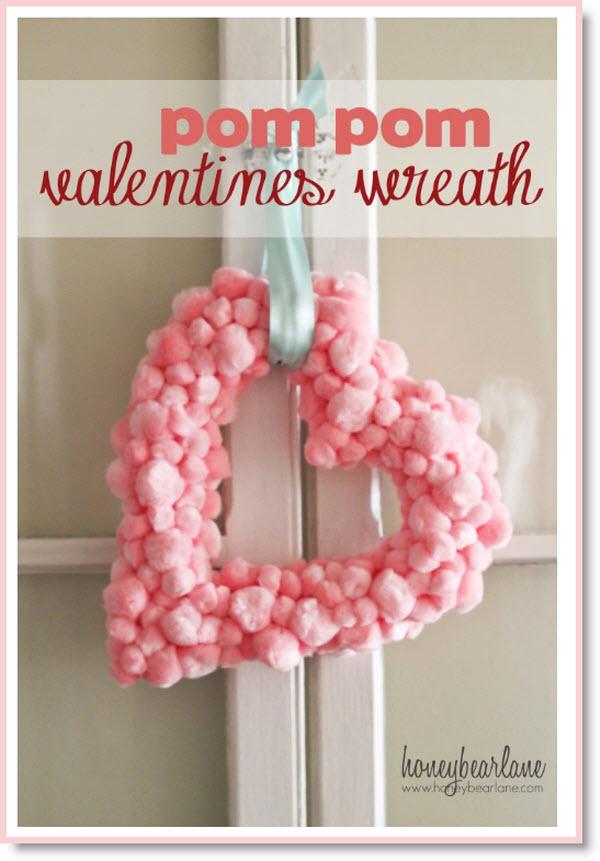 pom-pom Valentine Wreath