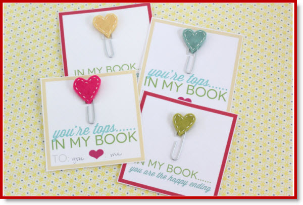 Stitched Heart Bookmarks