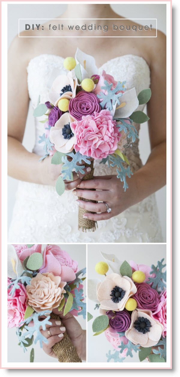 Felt flower wedding bouquet & boutonnieres DIY – Felting