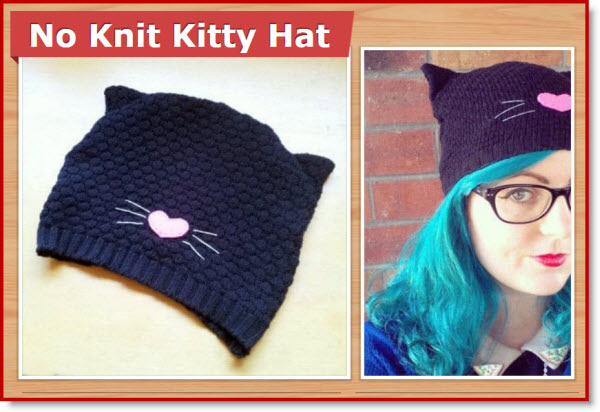 no knit kitty hat