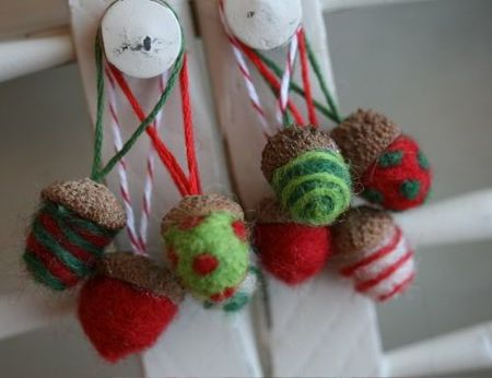 Needle Felted Acorn Ornaments