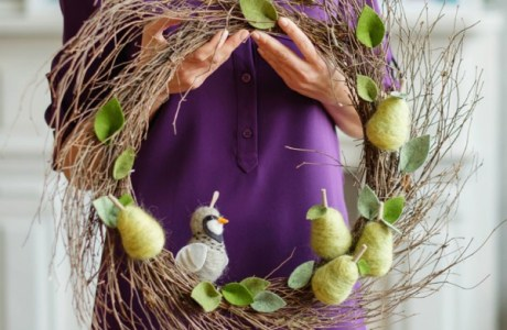 Felted Partridge In A Pear Tree Wreath
