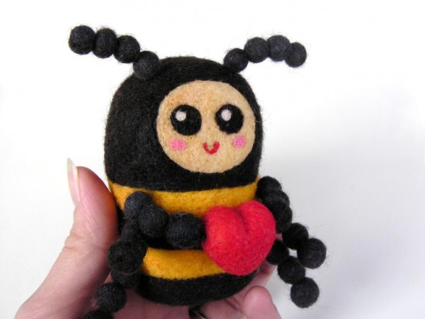Felted Valentine's Day Love Bug