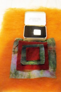 square pouch before felting