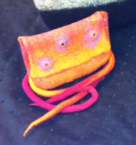 orange bag with snake