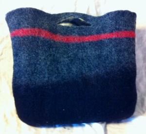 gray felt bag reversed