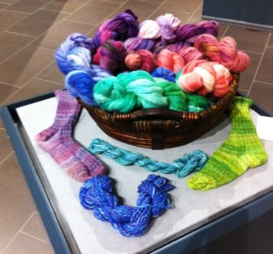 hand dyed, spun and knit