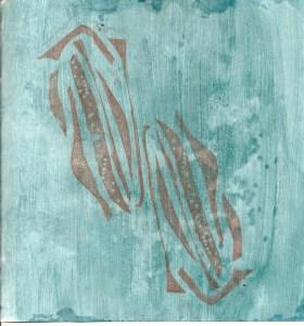 Blue Green Stamped Sketchbook Page