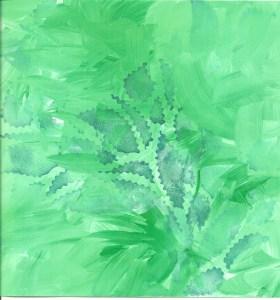 Green Leaves Stamped Sketchbook Page