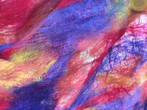 finished orange and purple shawl wool side close