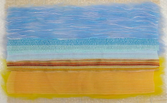 fabric strips laid onto merino wool base layers