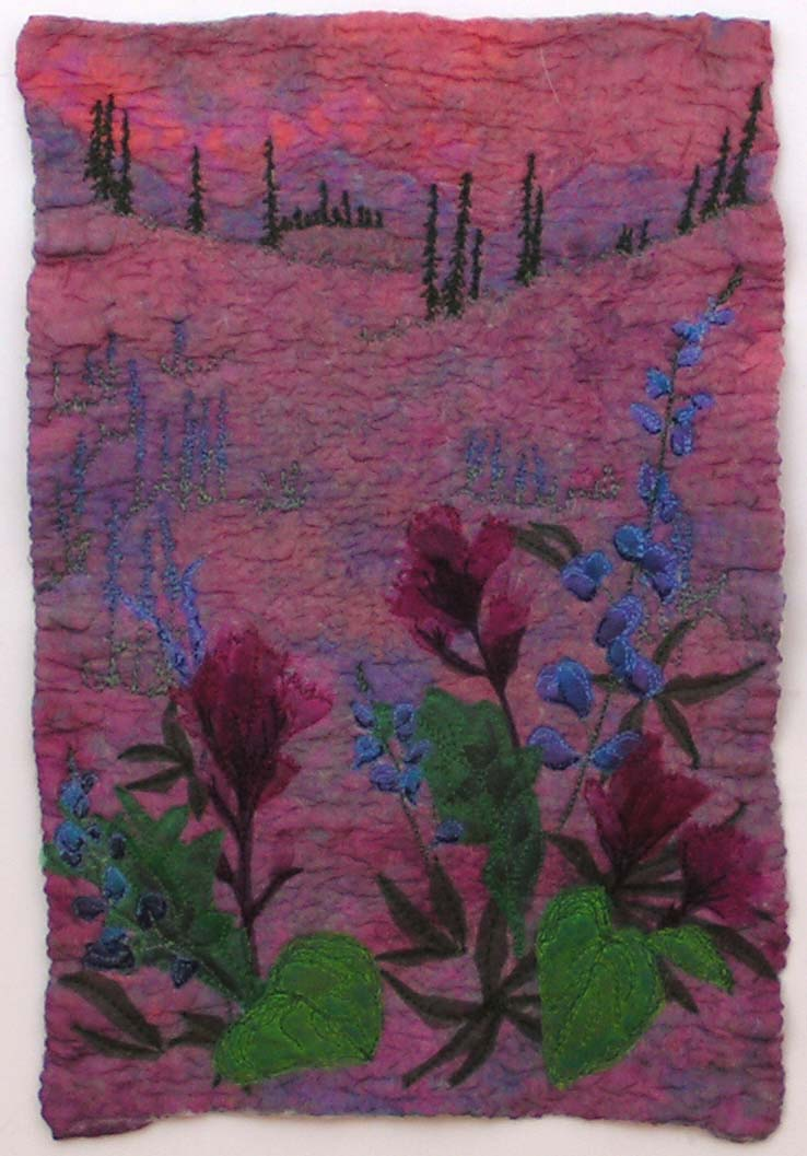 Summer Sunrise Colorful Felted Wool Painting