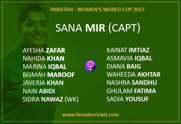 pakistan women's cricket team for World Cup 2017