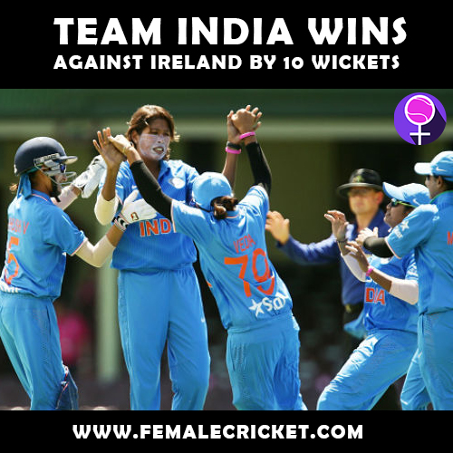Indian women's cricket team claimed their first victory in the Quadrangular series against Ireland women on 7th May, 2017.