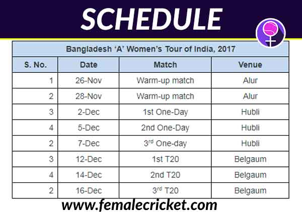 Schedule for Bangladesh A vs India A announced