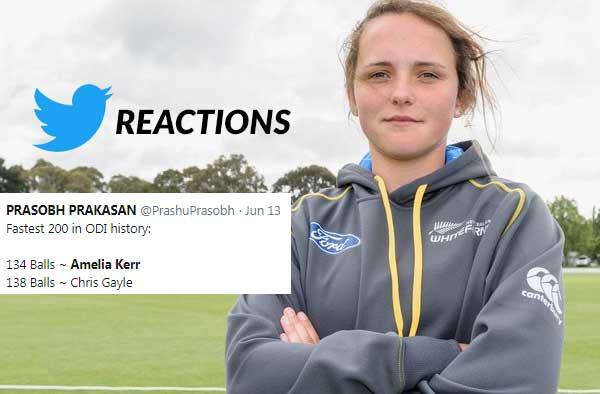Twitter Reactions to Amelia Kerr's 232 ODI batting world record