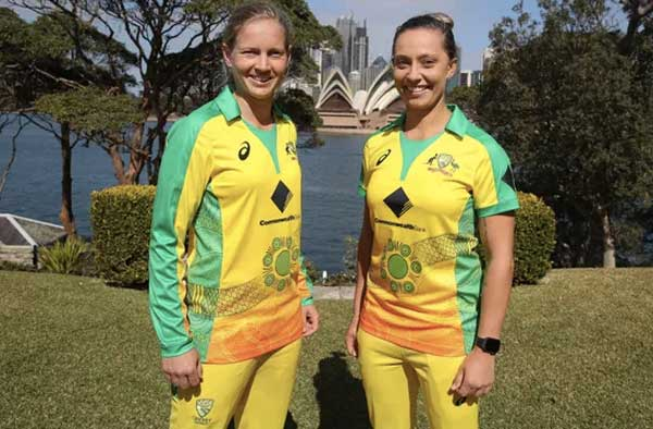 Meg Lanning and Ash Gardner sport the Indigenous designed uniform ahead of their T20 against England in February 2020. Photograph: Cricket Australia