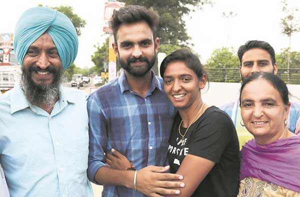 Hailing from Monga, Punjab, Harmanpreet Kaur was welcomed by her family. (Source: Express Photo by Gurmeet Singh)