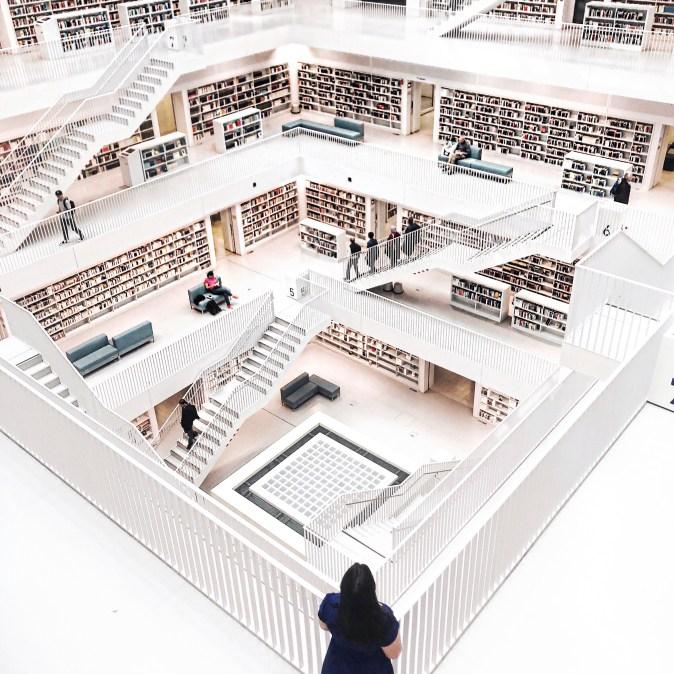 Visiting the prettiest library in Stuttgart