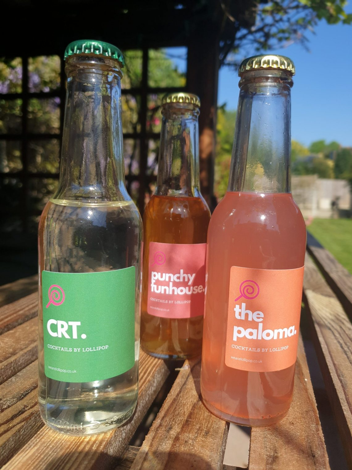 3 bottles of cocktails from Lollipop; CRT, Punchy Funhouse and The Paloma.
