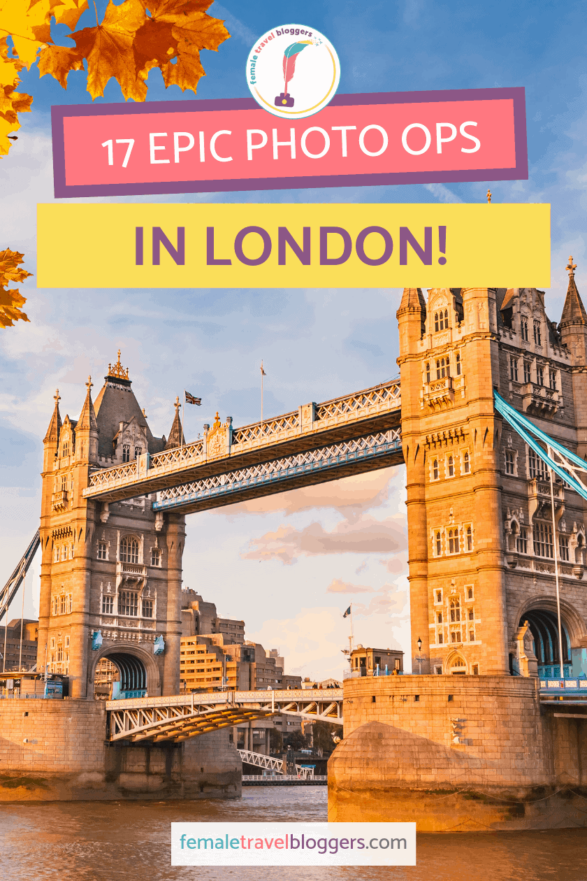 Are you looking for the best photo spots in London? We have your back! Come check out these 17 cool photo ops in London and why they're our favorites. We know they will make your London photography spots list like they did ours. Don't forget to save it to your London board so you can find it later. #london #uktravel #uk #femaletravelbloggers
