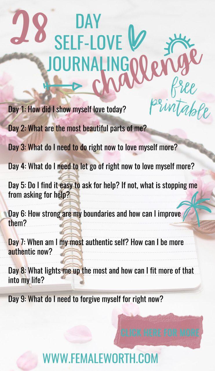 28 day self love journaling challenge