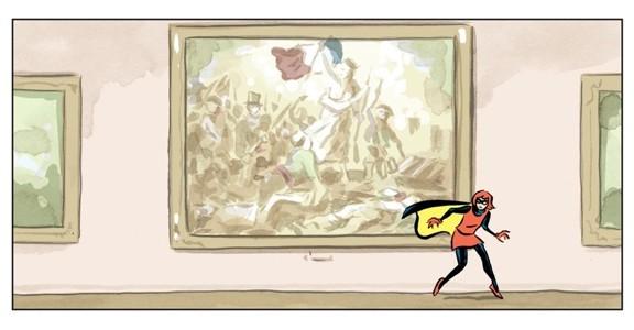 """Eine Frau in einem roten Kleid über einem schwarzen Ganzkörperanzug und einem gelb-schwarzem Cape läuft auf Zehenspitzen durchs Pariser Louvre, vorbei an dem Bild """"Die Freiheit führt das Volk"""" von Eugène Delacroix."""