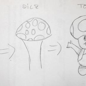 Auf dem Bild sind Zeichnungen eines Penis, eines Pilzes und dann Toad nebeneinander gestellt, um die Ähnlichkeiten zu zeigen.