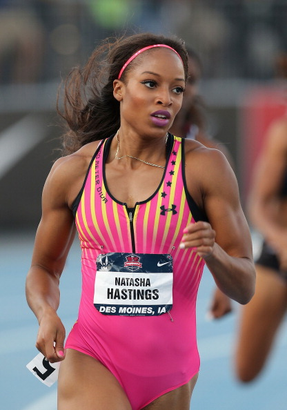 DES MOINES, IA - JUNE 21: Natasha Hastings competes in the Women's 400 Meter Dash on day two of the 2013 USA Outdoor Track & Field Championships at Drake Stadium on June 21, 2013 in Des Moines, Iowa. (Photo by Christian Petersen/Getty Images)