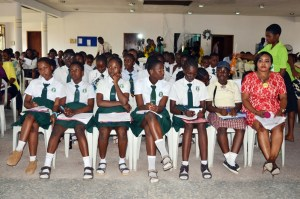A cross section of school girls at a Girl Conference organised by CEE-HOPE, an ngo to mark the 'International Day of the Girl' and to premier 'RuN', her movie on child marriage, in Lagos recently.
