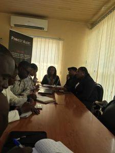 Josephine Effah-Chukwuma addressing pressmen