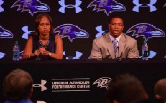 American football player Ray Rice gives a press conference after video of him knocking his then-fiance (now wife) unconscious is leaked to the public. During the press conference, Rice famously apologized to everyone (fans, his team, etc) except the woman sitting beside him who he had beaten.