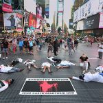 Activists stage a die-in in New York City. Photo by Thenmozhi Soundararajan, #DalitWomenFight